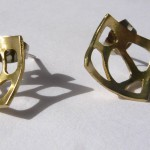 A day, earrings giraffe (short square), brass silver stem, 2014