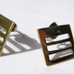 A day, earrings ladder (short square), brass, 2014