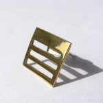 A day, earrings ladder (short square), brass, silver stem 2014