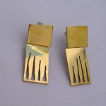 A day, earrings wild grass or tiger claw (short, 2 parts), brass, 2014