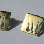 A day, earrings wild grass or tiger claw (short, square), brass, silver stem 2014