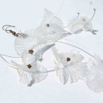 Colibri, earrings, plastic and copper, 2014