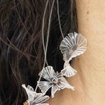 Colibri, earrings, plastic and copper, 2014