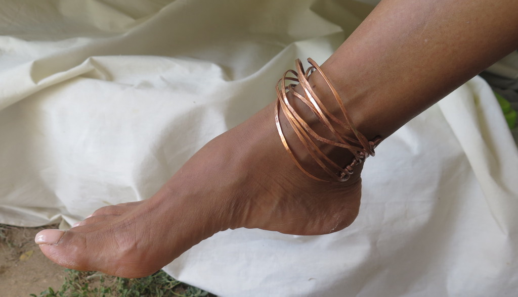 Electric Jamaica, bangle, 8 wires, worn on the ankle