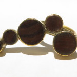 Ring 5 ronds on a curve, lignum vitae wood and brass,  2016 (Collection Fragile Jamaica, Lignum Vitae)