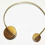 "Necklace ""Mano"" version brass, lignum vitae wood and brass, 2016 (Collection Fragile Jamaica, Lignum Vitae)"