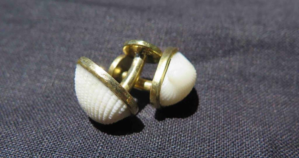 Fragile Jamaica, cufflinks, brass and shells from Treasure Beach, 2015