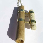 Fragile Jamaica, pendant, bamboo, coral, bronze and brass, 2014