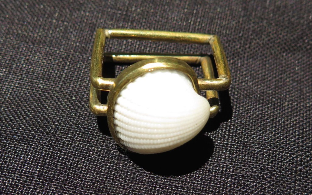 Fragile Jamaica, square ring 1 shell, brass and shell from Treasure Beach, 2015