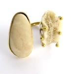 Fragile Jamaica, ring, stone and coral from Robins Bay, brass, 2014