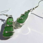 Gilded Cage, earrings sterling silver and green seaglass, 2014