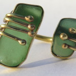 Gilded Cage, ring, 2 green sea glass and brass, 2015