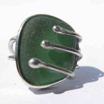 Gilded Cage, ring, sterling silver and green seaglass, 2015