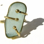 ring, Fragile Jamaica / Guilded cage, bronze, brass and seaglass (turquoise), 2014