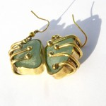 earrings, Fragile Jamaica / Guilded cage, bronze, brass and seaglass (turquoise), 2014