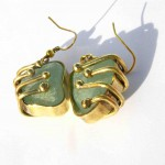 earrings, Gilded Cage, white seaglass brass and bronze, 2013