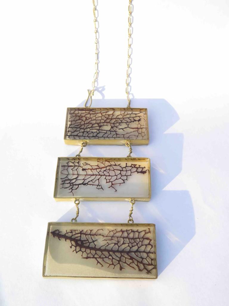 Jamaican Landscape, necklace, resine, brass, seafan, 2017