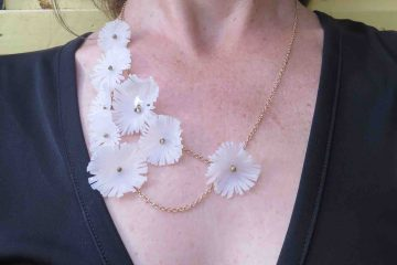 Upcycled Colibri White Flowers, necklace, 2020