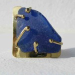 ring, Fragile Jamaica / Guilded cage, bronze, brass and seaglass (blue, triangle), 2013