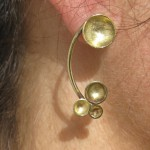 earring, Planets, shooting star, brass, 2013