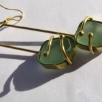 earrings, Fragile Jamaica / Guilded cage, bronze, brass and seaglass (turquoise) (long), 2013