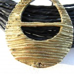 necklace, Africa, black leather, bronze and brass, 2014