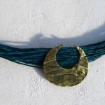 necklace, Africa : languette, demi lune,  cuir bleu, bronze, laiton, 2013, 3