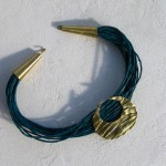 necklace, Africa : languette, demi lune,  cuir bleu, bronze, laiton, 2013