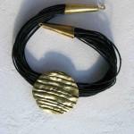 necklace, Africa : languette, pleine lune,  cuir, bronze, laiton, 2013