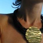 necklace, Africa, pleine lune,  cuir, bronze, laiton, 2013, light