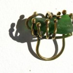 ring, Fragile Jamaica / Guilded cage, bronze, brass and seaglass (green), 2013
