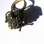 ring, Fragile Jamaica / Guilded cage, bronze and dried sweetsop, 2013
