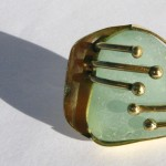 ring, Fragile Jamaica / Guilded cage, bronze, brass and seaglass (turquoise), 2013