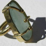 ring, Gilded Cage, 3 claws, turquoise seaglass and bronze, 2014