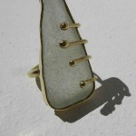 ring, Gilded cage, white seaglass, brass and bronze, 2014