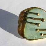 ring, Gilded Cage, turquoise seaglass, brass and bronze, 2013