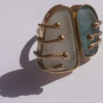 ring, Gilded cage, white and blue seaglass, brass and bronze, 2014