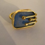ring, Gilded cage, brass, bronze and blue seaglass horizontal, 2014
