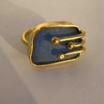 ring, Gilded cage, brass, bronze and blue seaglass, 2014