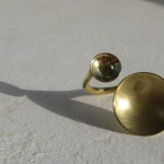 "ring, ""Planets"",earth and moon ""2"", brass, 2013"