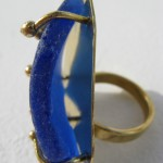 ring, Gilded Cage, blue seaglass, bronze and brass, 2013