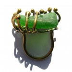 ring, Gilded Cage, green seaglass, bronze and brass, 2013